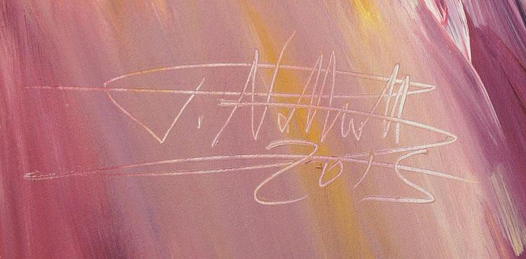 Signatur unter dem abstrakten Gemälde vom Hamburger Kunstmaler Peter Nottrott