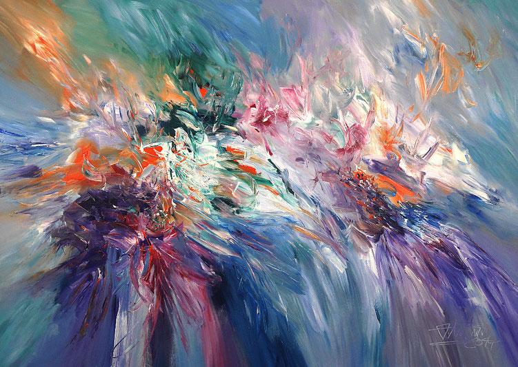 Vitales, abstraktes Acrylgemälde vom Hamburger Künstler Peter Nottrott.