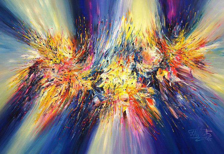 Abstraktes, modernes Gemälde. Original in Acrylfarben auf Leinwand. Blau, Gelb, Pink, Orange