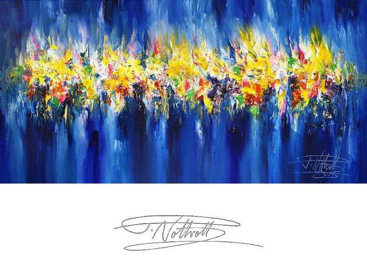 Abstraktes, blaues Gemälde im Panorama-Format. Fertig auf einen Keilrahmen gespannt.