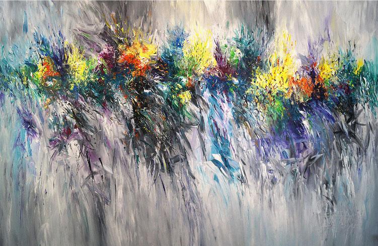 Großes, abstraktes Gemälde. Moderne Malerei in spannenden Farben.