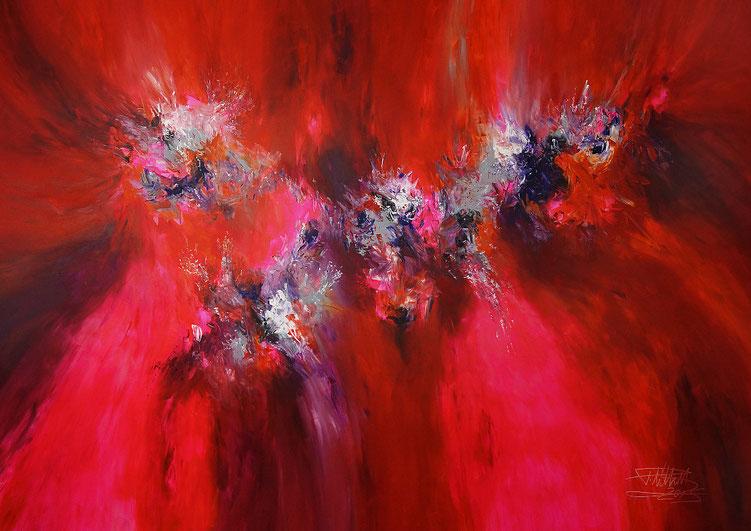 Riesiges Acrylbild auf Leinwand. Abstrakte, moderne Malerei. Magenta, Pink, Rot, Violett, Grau, Weiß.