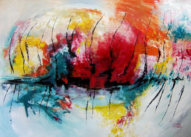 Große, abstrakte Malerei . Modernes Gemälde vom Kunstmaler Peter Nottrott