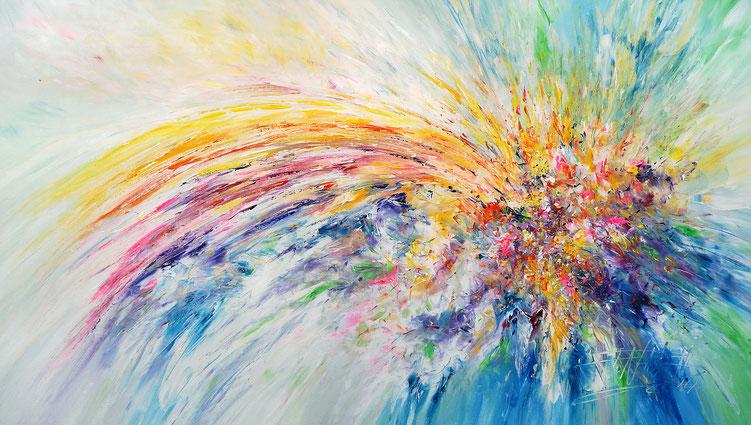 Farbenfrohes, abstraktes Bild. Moderne Malerei vom Hamburger Kunstmaler Peter Nottrott.