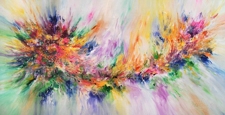 Fließendes, abstraktes Acrylbild auf Leinwand. Modernes Gemälde.