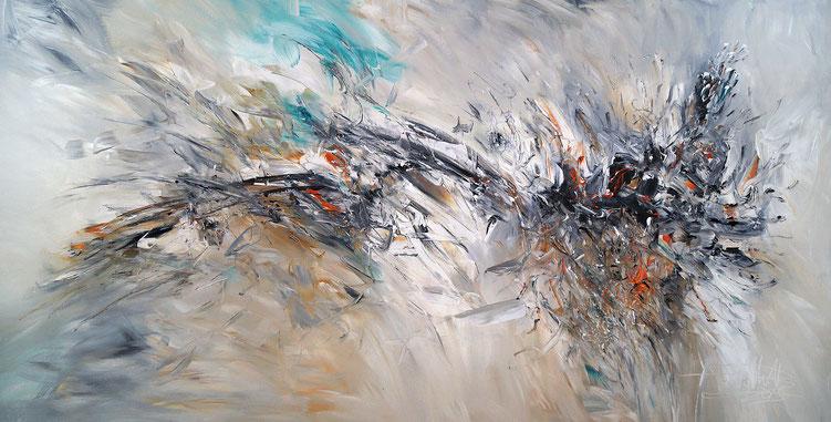 Vitales, abstraktes Acrylbild auf Leinwand. Schwarz, Weiß, Anthrazit.