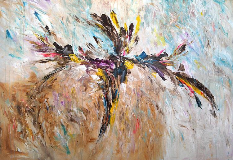 Lebendiges, abstraktes Acrylgemälde vom Hamburger Kunstmaler Peter Nottrott