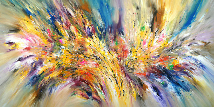 Abstraktes Acrylbild auf Leinwand.