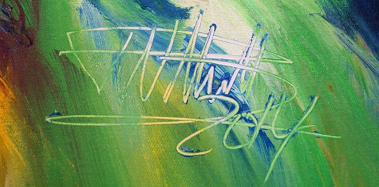 Moderne Malerei: Signatur vom Hamburger Kunstmaler Peter Nottrott