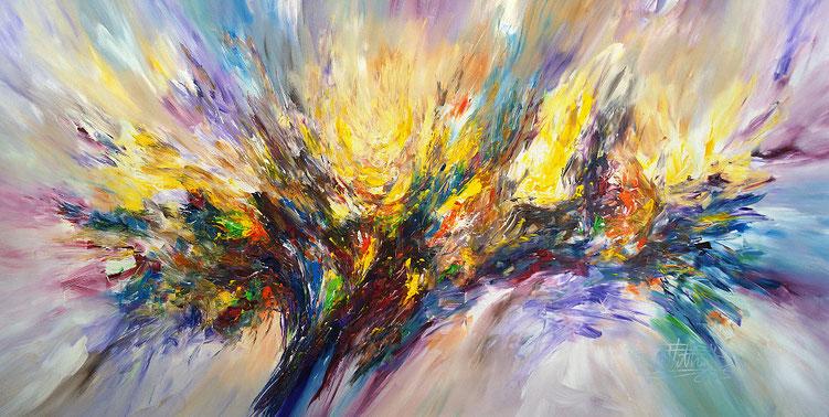 Großes, abstraktes Gemälde. Moderne Malerei in lebendigen Farben.