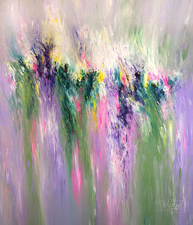 Abstraktes Gemälde. Großformat. Vitale Malerei in spannenden, modernen Farben.