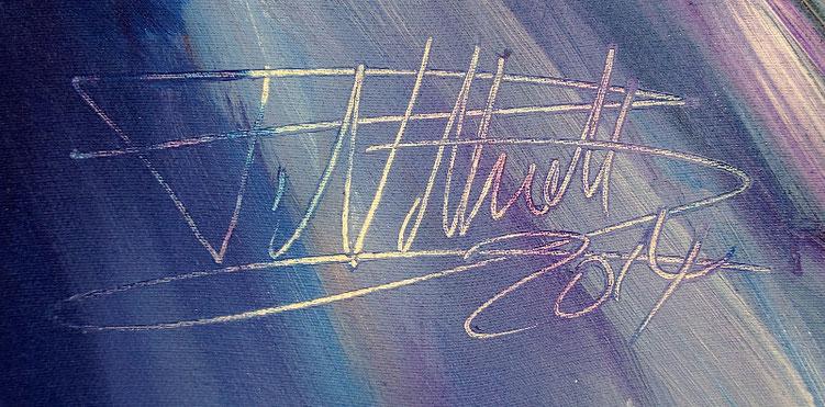 Signatur des abstrakten, modernen Gemäldes des Hamburger Kunstmalers Peter Nottrott