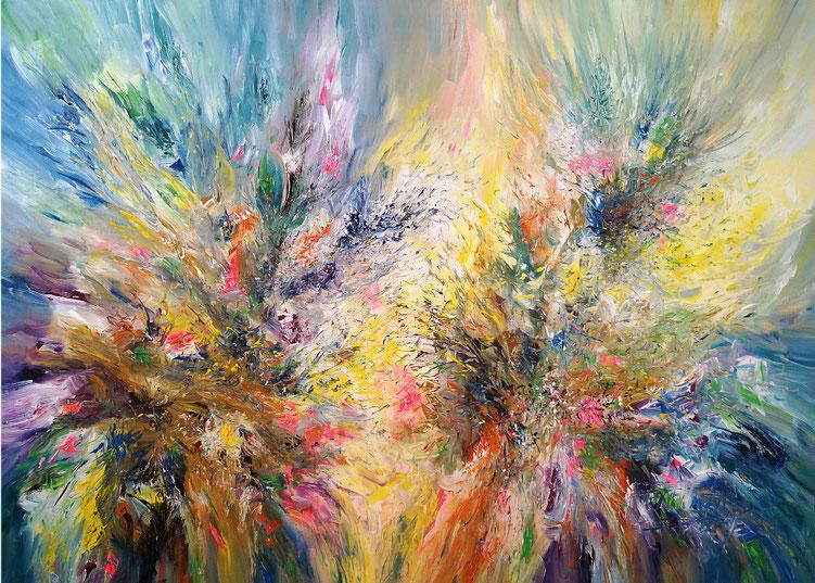 Sehr lebendiges, detailreiches Gemälde. Abstrakte Malerei.