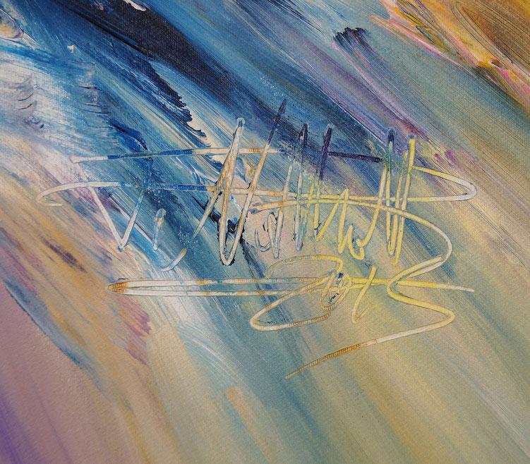 Signatur vom Kunstmaler Peter Nottrott sowie Entstehungsjahr 2015