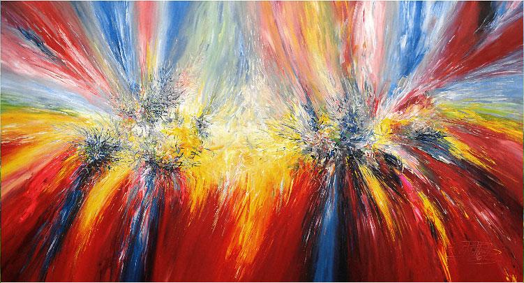Großes, abstraktes Gemälde. Moderne Malerei in lebendigen Farben. Rot