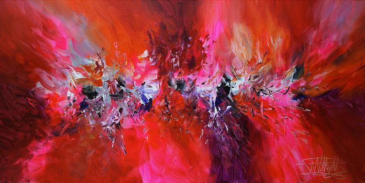 Abstraktes Gemälde im Panorama-Format. Fertig auf einen Keilrahmen gespannt.