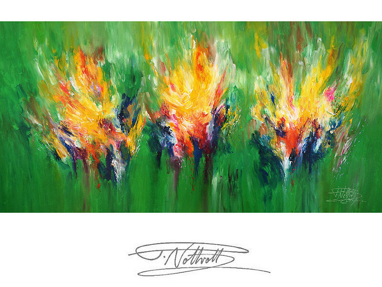 Großes, abstraktes Gemälde. Moderne Malerei in lebendigen Farben. Grün
