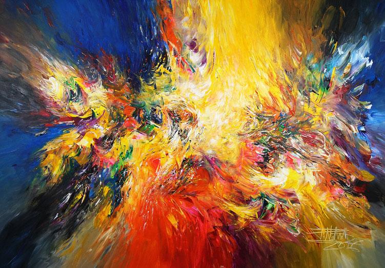 Modernes, farbenreiches Gemälde. Original