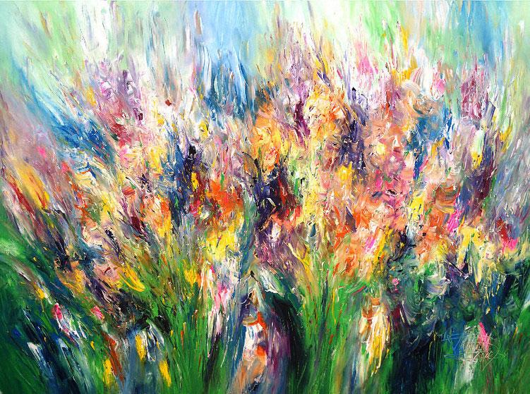 Ein sehr farbenprächtiges, vitales Gemälde vom Hamburger Kunstmaler Peter Nottrott.