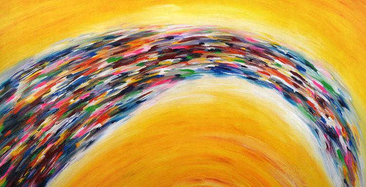 Vitales, abstraktes Acrylbild auf Leinwand. Gelb