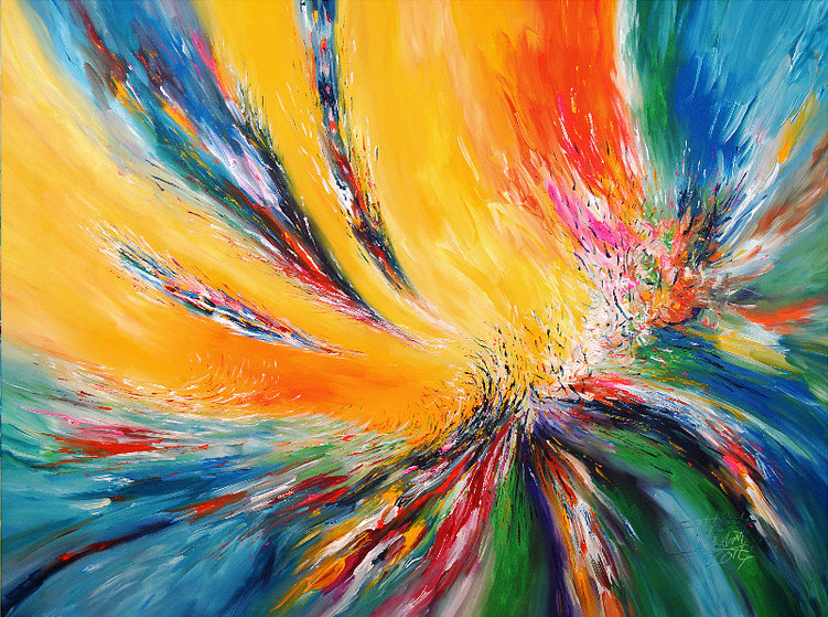 Farbgewaltiges, abstraktes Acrylgemälde vom Hamburger Kunstmaler Peter Nottrott