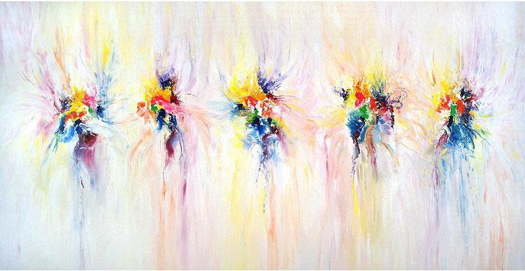 Großes, abstraktes Bild in Acrylfarben auf Leinwand.