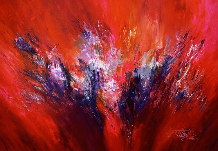 Abstraktes Gemälde in Magenta, Rot, Pink, Violett, Grau, Schwarz und etwas Weiß.