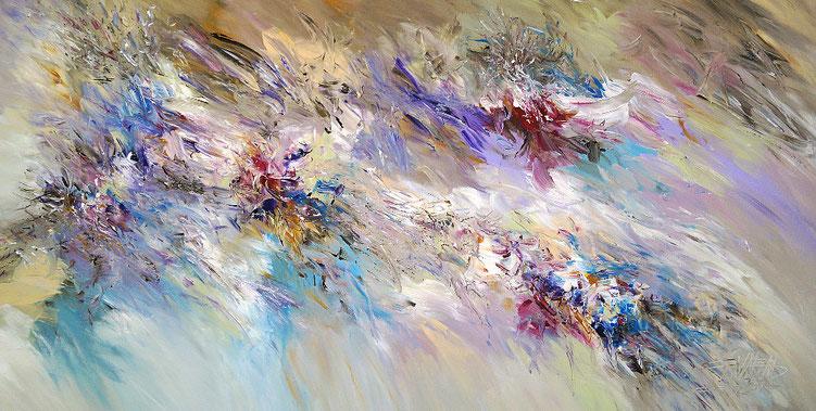 Farbkräftiges, abstraktes Acrylbild auf Leinwand.