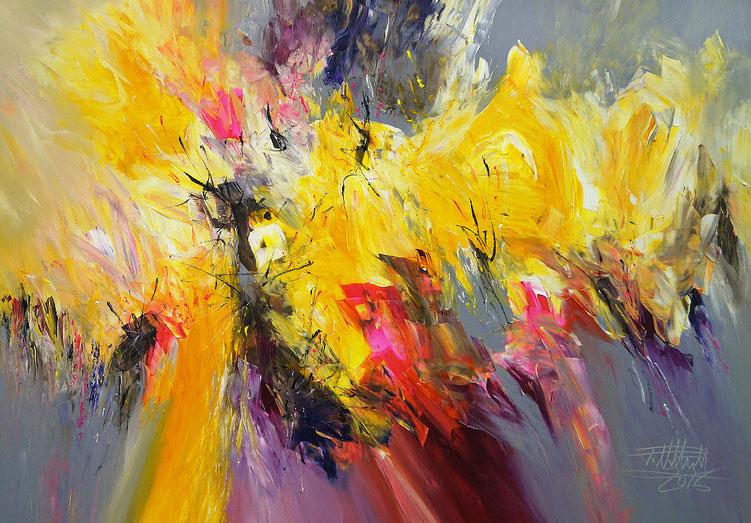 Abstraktes Gemälde in Gelb, Magenta, Rot, Pink, Grau, Schwarz und etwas Violett und Weiß.