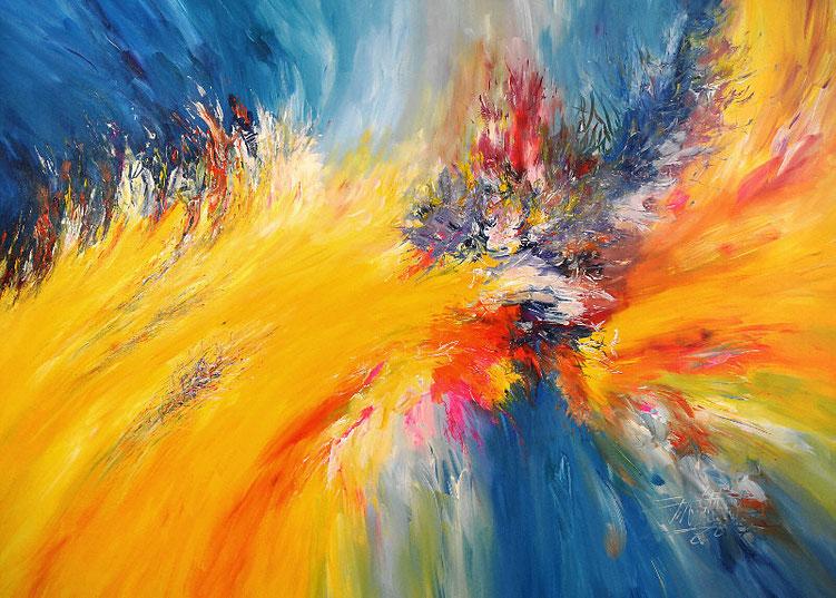 Abstraktes Original in leuchtenden Farben und dynamischer Formgebung.