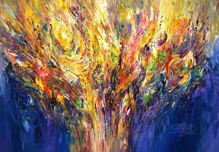 Abstraktes, vitales Gemälde. Original in Acrylfarben auf Leinwand.