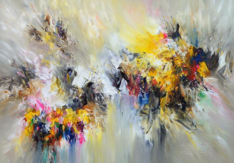 Lebendiges, farbenreiches Gemälde. Original
