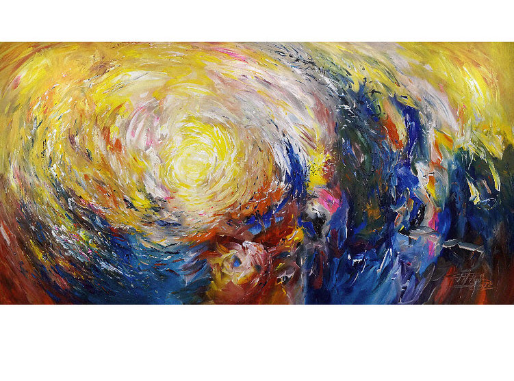 Großes, abstraktes Gemälde. Moderne, schwungvolle Malerei.