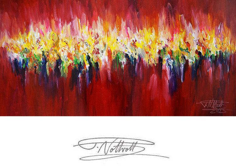 Abstraktes, rotes Gemälde im Panorama-Format. Fertig auf einen Keilrahmen gespannt.