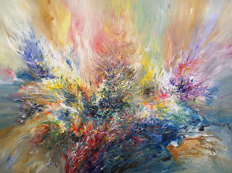 Lebhaftes, abstraktes Gemälde vom Hamburger Künstler Peter Nottrott.