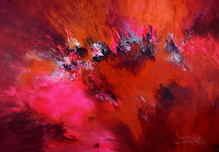 Modernes Gemälde in Rot, Magenta, Pink, Orange und etwas Weiß, Violett und Grau.