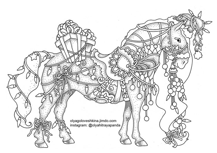 Christmas Horse Free Adult Coloring Page by Olga Goloveshkina