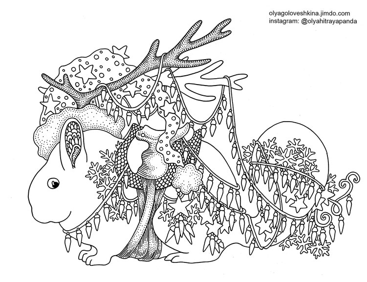 free adult coloring page christmas coloring book chinchilla art
