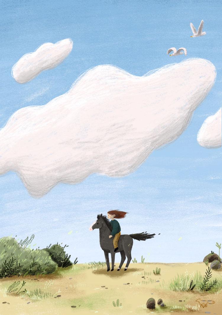 Mareike Ammersken Illustration Mädchen Pferd