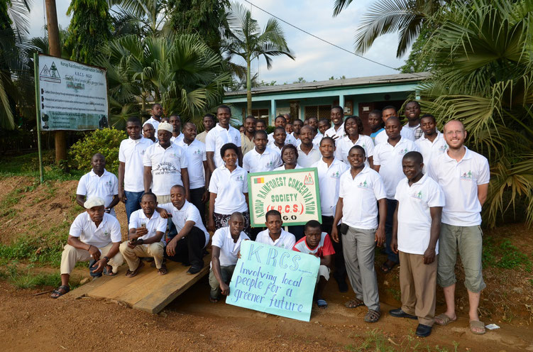 KRCS members pose outside their head office in Mundemba.