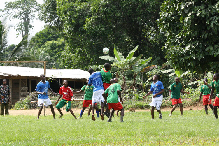 Engaging remote community youths (hunters) in football games with park rangers for primates conservation