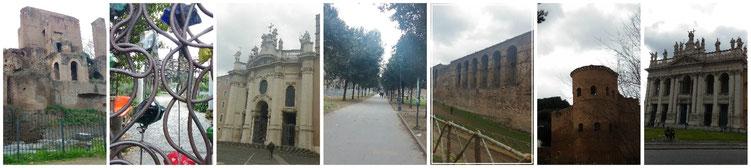 Piazza Vittorio Emanuele II, Portale di entrata agli orti di Santa Croce, Santa Croce in Gerusalemme, le mura Aureliane, San Giovanni in Laterano
