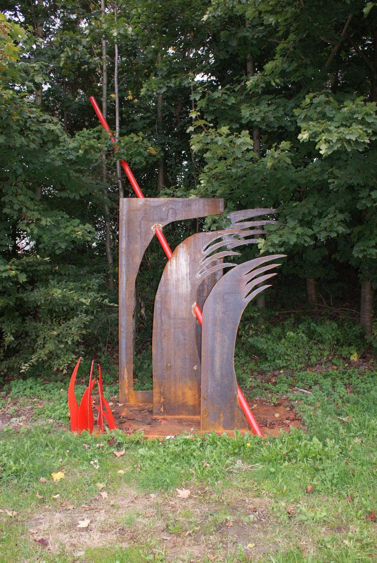 """2012 Stahlsymposium Riedersbach """"spirit of steel"""" Standort: an der Bundesstrasse bald nach der Einfahrt in den Stahlpark"""