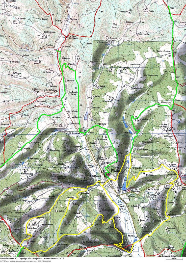 Carte de randonnées autour de Plazac