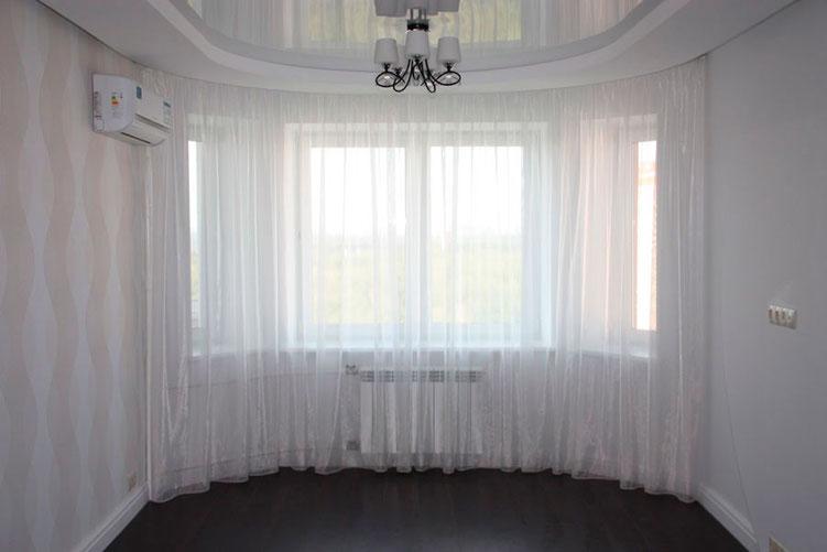 шторы для эркера в гостиной на заказ в Пушкино Ивантеевке Королеве Щелково Москве Балашихе