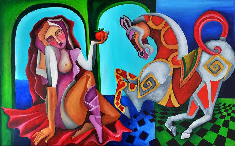Eine Frau mit einem Apfel in der Hand füttert ein Pferd