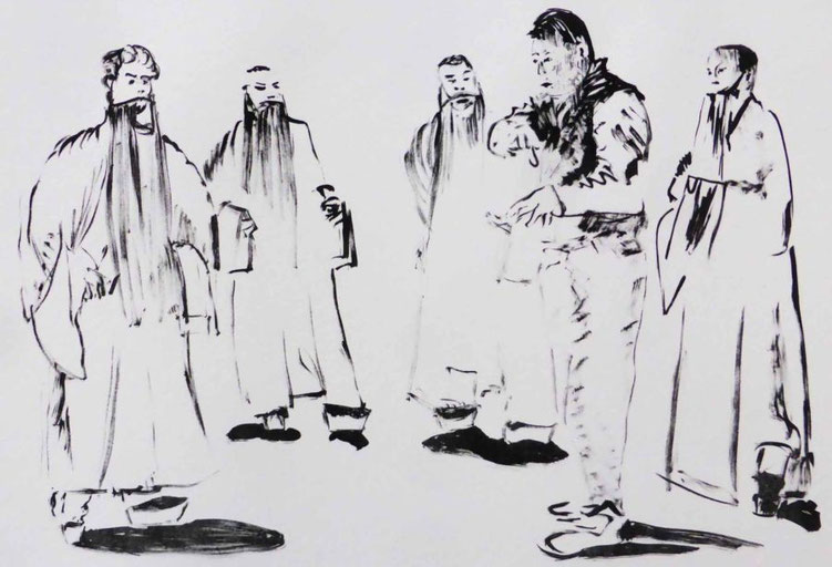 China , Peking , Zeichnung , Tusche , Papier , Schüler , Lehrer ,