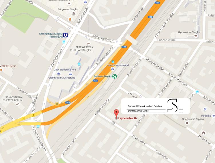 """Anreise mit der S-Bahn oder dem Bus, Haltestelle """"Rathaus Steglitz"""" (Quelle Google maps)"""