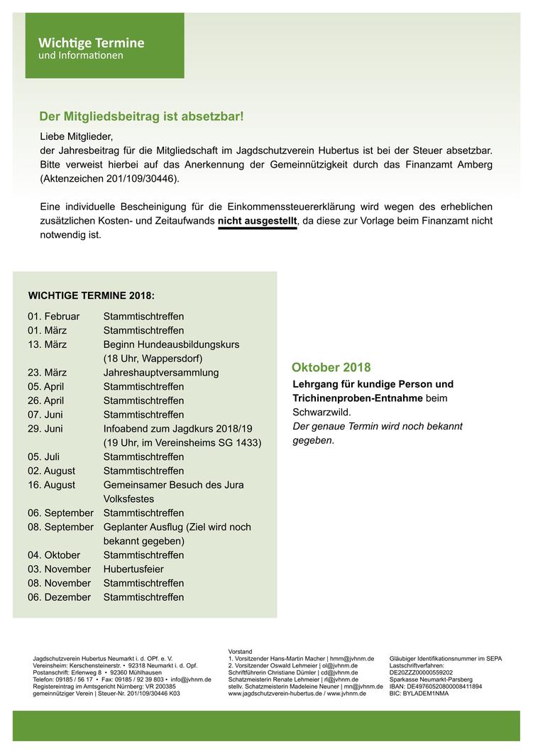 Jagdschutzverein Hubertus Neumarkt e. V. Mitgliederbrief Nr. 26 Rückseite