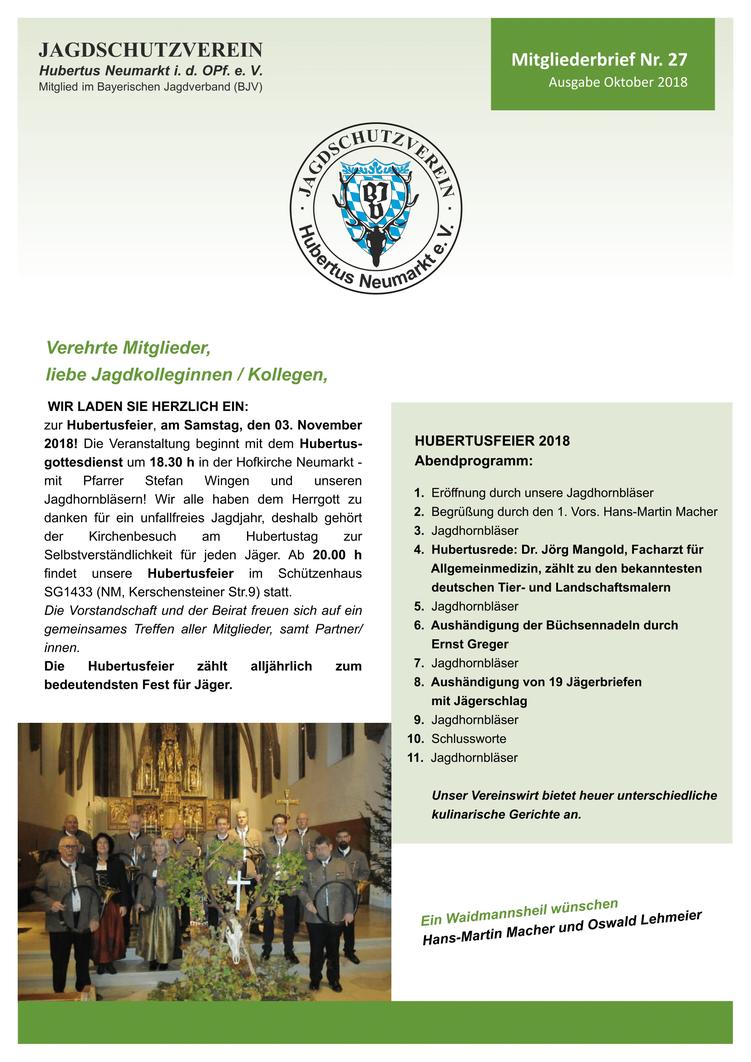 Jagdschutzverein Hubertus Neumarkt e. V. Mitgliederbrief Nr. 26